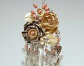 BIRA KANZASHI Vintage Japanese Hair Pin w/Coral Beads #2239