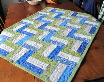 "Baby Boy Blue Crib Quilt Size 31"" by 42"""