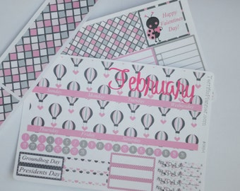 February Monthly Spread Kit Planner Stickers Removable Matte  or Glossy Stickers #126