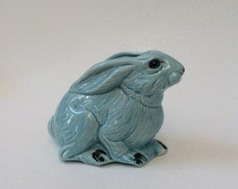 Vintage Blue Bunny Vase / Planter, Ceramic Rabbit Planter / Vase, Blue Easter Bunny Vase / Planter