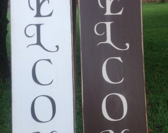 Wood welcome sign,vertical welcome, wooden welcome sign, vertical welcome sign