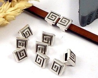 10 leather square spiral plated silver for leather flat 5mm past