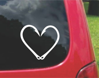 Set (2 Pieces) Fishing Hook Heart Love  Sticker Decals 20 Colors To Choose From.  U.S.A Free Shipping