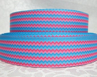 7/8 inch Horizontal Chevron - PINK AND BLUE - Printed Grosgrain Ribbon for Hair Bow