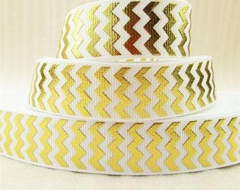 7/8 inch  GOLD Chevron on White -  Printed Grosgrain Ribbon for Hair Bow