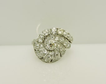 Beautiful Lady's Seashell Platinum Vintage Ring Size 4.75 With 40= Various Shapes Diamonds