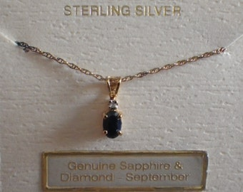 """18k Gold over Sterling Sapphire and Diamond Necklace on 18"""" Fine Rope Chain"""