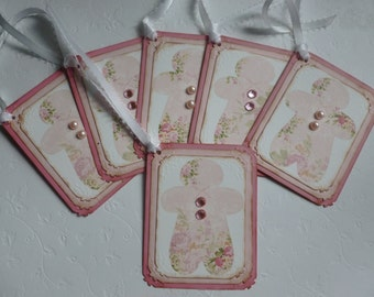 Christmas tags shabby chic pink rose gingerbread man vintage style pink and white gift tags pink christmas - set of 6