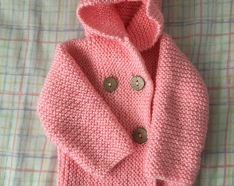 Infant Hoodie Cardigan - Hand Knit