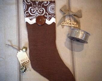 Filigree Burlap Christmas Stocking
