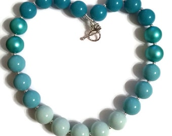 Aqua Beaded Necklace Ombre Necklace Ombre Chunky Necklace Blue Beaded Necklace Women's Chunky Necklace Aqua Blue Jewelry