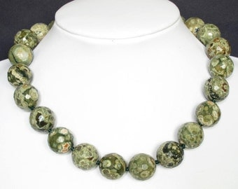 Necklace Rhyolite 18mm Facet Round Beads 925 NSRY3124