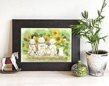 Buddha Sunflowers Cats Watercolor Art Print