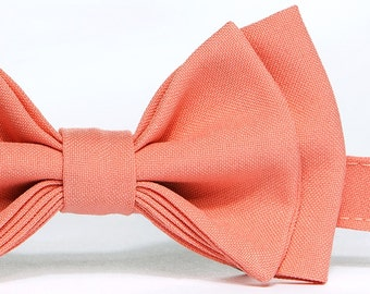 Salmon Coral Bow Tie (Peach Coral Bow Tie) -- Baby Bow Tie, Toddler Bow Tie, Boy Bow Tie, Adult Bow Tie -- Father Son Matching Bow Ties