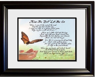 Grief and loss of friend or loved one gift framed and matted calligraphy picture
