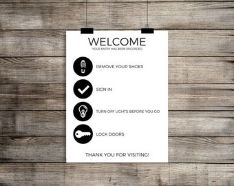 Please Remove Your Shoes Sign, Real Estate Template, Real Estate Stationery