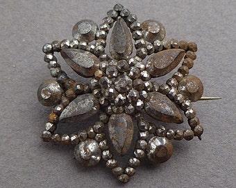 Steel cut brooch c 1850