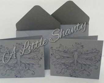 """Set of 4 - Little Dragonfly Cards card(3""""x2 1/2"""")/grey paper base/stamped image/blank inside/All occasions card"""