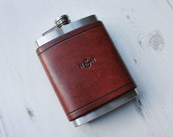 Custom Leather Flask 8oz