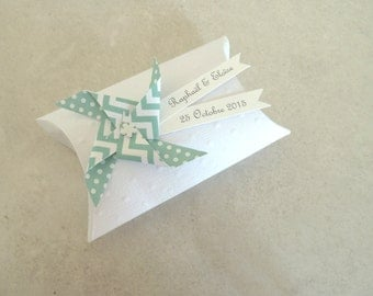 Box dragees mint + windmill dots chevron - thank you gift for birthday, christening, wedding guests - handmade