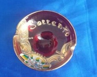 Red Glass Surrento Ash Tray .