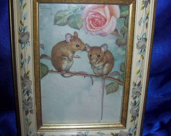 3 Ornate Framed Pictures 'Studies of Mice'