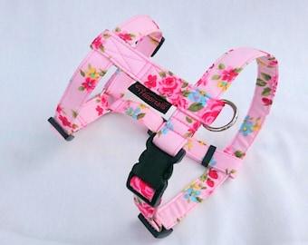 Pink Vintage Rose, Adjustable Designer Dog Harness (traditional style) - pick Any Fabric in Shop