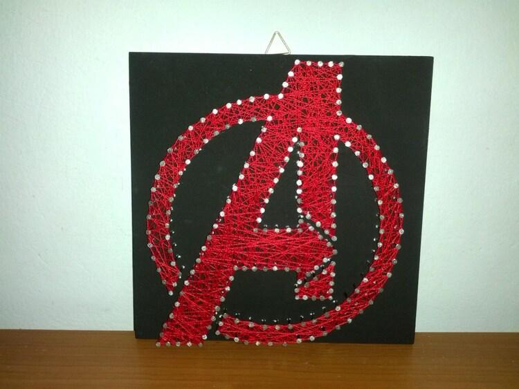 Handmade String Art Nail Art Avengers Sign Marvel By