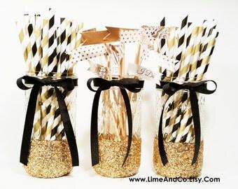 Mason Jar Centerpieces, Wedding Decor, Black and Gold Decor, Wedding Centerpiece, Birthday Party Decor, Bachelorette Decor, Graduation Party