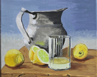 still life original oil painting on canvas 3D Still life oil painting Silver pitcher with lemons 20 x 20 cm ( 8 x 8 inch)