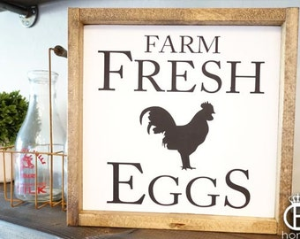 Farm Fresh Eggs Framed Wood Sign