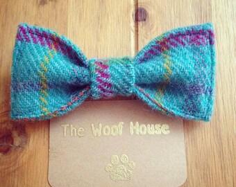 Turquoise Tartan Harris Tweed Dog Bow Tie