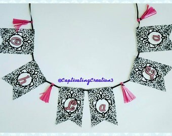 Oh La La Damask Print Paris Inspired Banner with Tassels