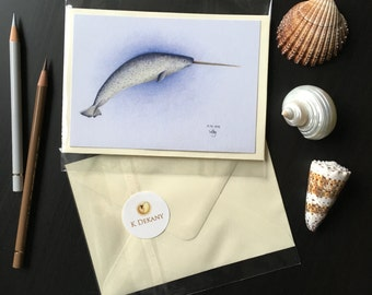 Narwhal Whale Print Greeting Card Postcard kdekany Artwork Oceans
