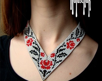 Traditional ukrainian gerdan. Beaded gerdan. Angle Gerdan with rose