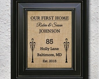 Our First Home, New Home Address Sign, Personalized HouseWarming Gift, Home sign burlap Print-3U