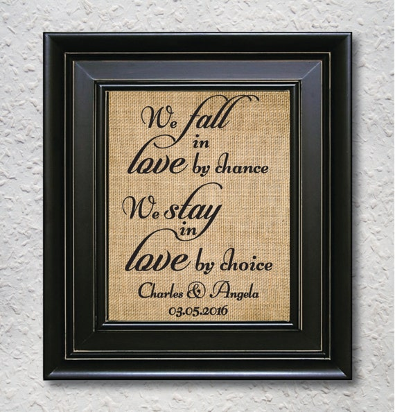 We Fall In Love By Chance: Items Similar To Personalised Couple Gift