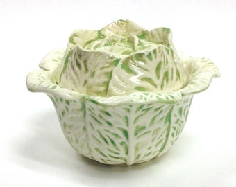 Vintage ceramic cabbage bowl with lid