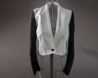 Helmut Lang Black and White Jacket, 1980 style , made in U.S.A