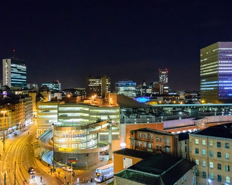 Manchester Skyline at Night / MCR / Mancunian / City / Urban / Cityscape / England / Wallart