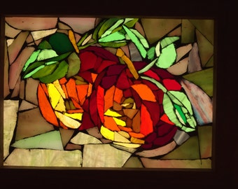 Fall Apples Glass Art Mosaic