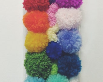 rainbow iphone 6 case, iphone 5 case, phone case colorful, indie phone case, rainbow case, iphone winter and cosy case, pom pom
