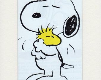 Snoopy Loves Woodstock Mounted Print