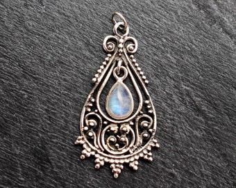 Rainbow Moonstone Pendant - Sterling Silver