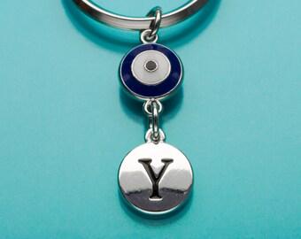 Evil Eye Keychain, Blue Evil Eye Key Ring, Good Luck Symbol, Initial Keychain, Personalized Keychain, Custom Keychain, Charm Keychain, 779