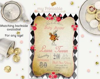 Alice in Wonderland Baby Shower Invitation / Digital Printable Tea Party Invite / DIY Party