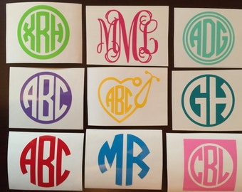 """3"""" Drinkware Monogram Decal / Sticker Available in 24 Colors ~Choose the color & style~ Tumbler, Wine Glass, Mug, Cup, Thermos, Water Bottle"""