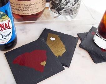"""Custom """"Home"""" Slate Coasters (set of 4)"""