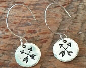 Silver Arrow Earrings, Silver Dangle Earrings, Sterling Silver Jewelry, Hand Stamped Earrings, Silver Disc Earrings