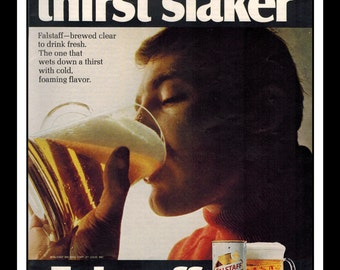 "Vintage Print Ad October 1968 : Falstaff Beer ""The Thirst Slaker"" Advertisement Wall Art Decor Color 8.5"" x 11"""